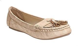 حذاء لوفرز جلد صناعي منقوش بشراشيب وخياطة امامية للنساء من ديجافو