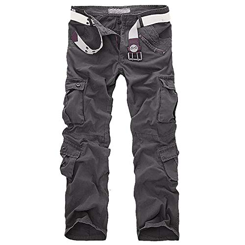 LANBAOSI Hommes durables Poches Multi/Pantalons Camo Cargo Solides, Gris, 44 Taille Fabricant 34