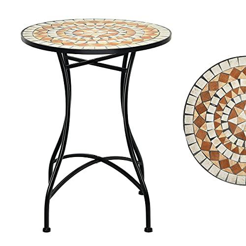 RELAX4LIFE Runder Mosaiktisch Ø 60 cm, Gartentisch mit Mosaik-Desktop, Beistelltisch im Vintage-Stil, Kaffeetisch mit X-förmigem Eisengestell & Beschichtung, Balkon Garten Terrasse, Balkontisch Retro