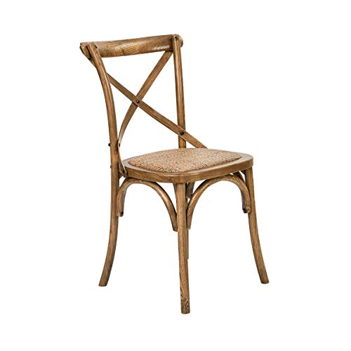 Butlers Cross Country Stuhl, 46 x 42 x 87 cm - Brauner Esszimmerstuhl aus Holz und Rattan - Klassischer Polsterstuhl