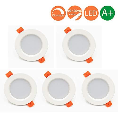 LED Einbaustrahler Dimmbar Ultra Flach 5er Set inkl.7W LED 230V Deckenstrahler Einbauleuchte Runden IP44 LED Deckenspots Einbauspots Warmweiß 3000K (5er Set - Warmweiß)