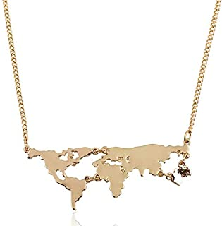 Personality World Map Jewelry Necklace Map Globe World Continents Charm Necklace