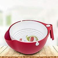 MCE フルーツボウル2 in 1マルチキッチンストレーナーボウルセットプラスチック洗浄野菜バスケット二重層ドレン盆地着脱可能な果物 (Color : Red)