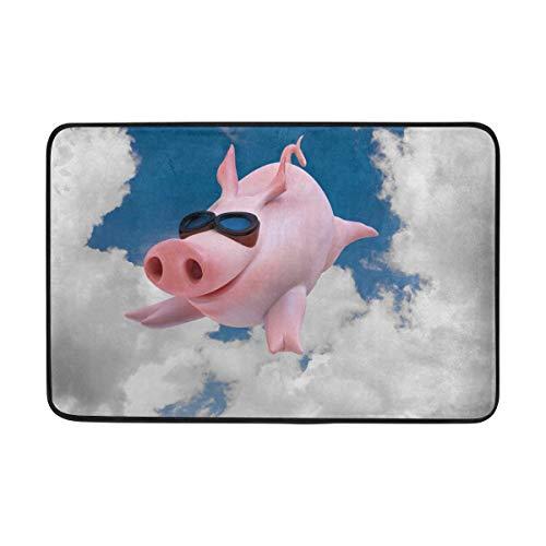 Área Alfombra 23.6x15.7 Pulgadas Blue Sky Cerdo Divertido Piggy Felpudo Interior Exterior Entrada Alfombra de baño Baño