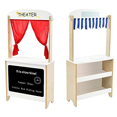 labebe - Wood Puppet Theater, Flannel Curtain Puppet Stage Theater, 2-Sided Tabletop Puppet Stage Chalkboard, 2-in-1 Puppet Theater Reversible Play Store, Multi-Function Theater for Ages 3 and up