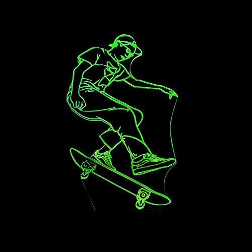 RJGOPL Skateboarding lamp 3D bureaulamp met kleurenaanraakbediening LED kleine geschenken verlichting tafellamp 3D nachtlamp