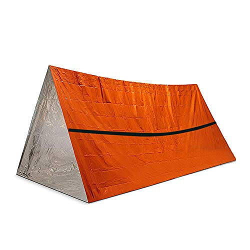 KNJF Camping Hiking Backpack Tent Outdoor Simple Tent Aluminum Film Windproof and Heat Insulation Triangular Tent (Color : Orange, Size : 245x157cm)