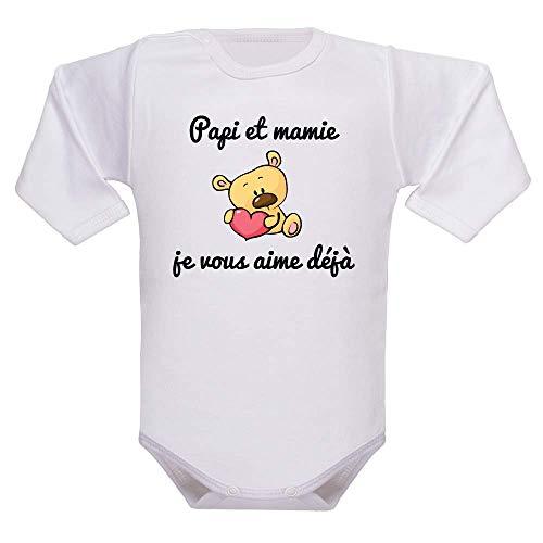 Body manches longues, bodies bébé, brassière enfant, papi, mamie, amour, message, fête des grands-mères, cadeau - blanc, 0-3 mois