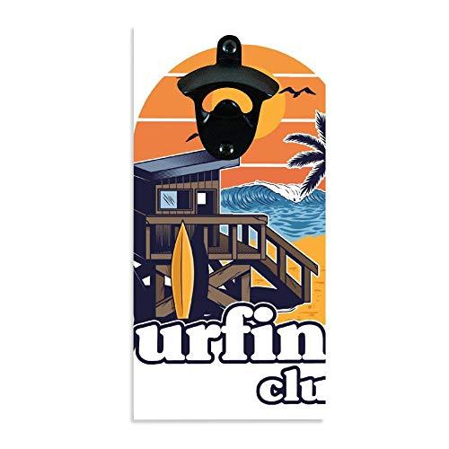 Décapsuleur mural vintage en bois de plage ou club de surf, décapsuleur rustique rétro à bière, décoration murale à suspendre pour bar, garage, cuisine.