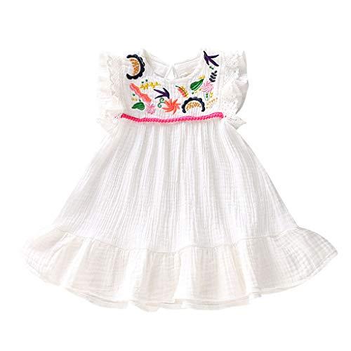 Luoluoluo baby meisjes jurk korte mouwen zomerjurk wit kanten jurk met geborduurd prinses jurk meisjes zomer baby kleding
