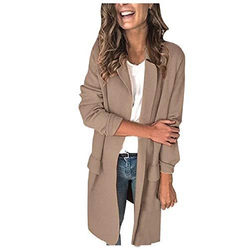 N\P Abrigo blazer para mujer, de manga larga, para mujer caqui L