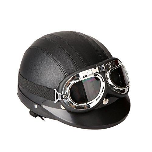 KKmoon Casco per Moto, Motociclo Casco Aperto in Mezza Pelle, Casco Invernale Antivento, con Visiera UV Occhiali Stile Vintage retrò 54-60 cm, Nero