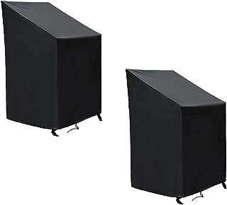 SIRUITON Fundas para Sillas Protectora para sillas de jardín y balcón Sillas contra la Intemperie Resistente al Agua, Protección UV 120 x 65 x 65/80 cm (2 Pcs)
