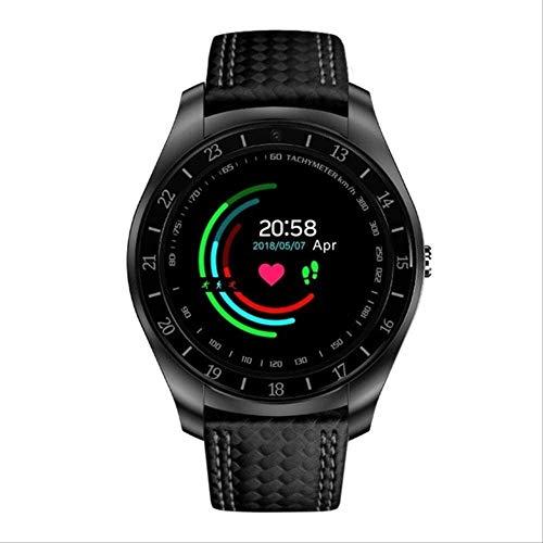 YUJY Smartwatch Smart Sportuhr Herren Anruf Telefon SIM Karte Kamera Herzfrequenzmesser Schrittzähler Kohlefaserband Musik Smartwatch 2019 Schwarz