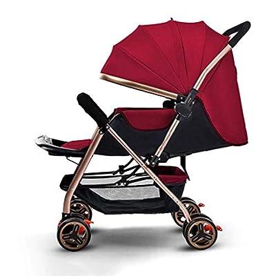 JDK Los cochecitos de bebé de Dos vías Pueden Sentarse reclinables Plegables portátiles a Prueba de Golpes High Landscape Baby Newborn Children Travel Baby Carriage (Color: Red)