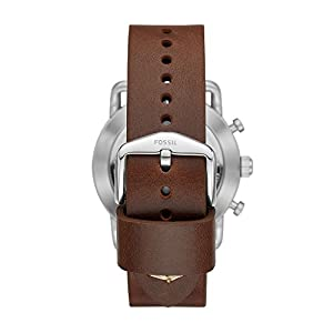 Fossil Men's Commuter Stainless Steel and Leather Hybrid Smartwatch, Color: Silver, Brown (Model: FTW1150)