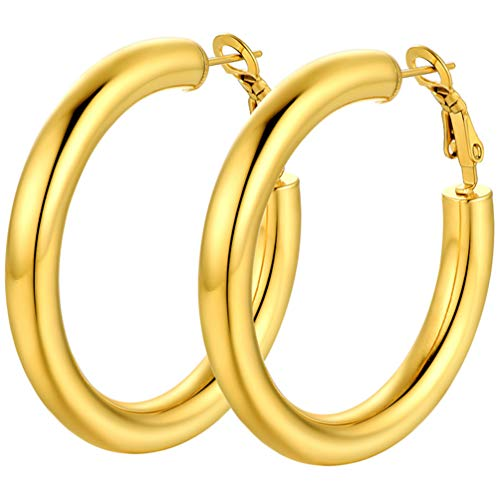 PROSTEEL Womens Gold Hoop Earrings 18K Plated 40MM Ear Round Hoops