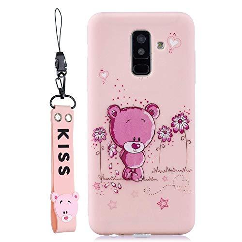 HongYong Simpatico orso Cover per Samsung Galaxy A6 Plus (2018) Silicone Morbide Disegni bello Divertenti Gomma Morbido Custodia Galaxy A6 Plus (2018) Antiurto Protettiva Case Caso Molle Con Bracciale