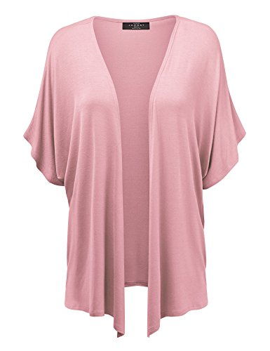 MBJ Womens Short Sleeve Dolman Cardigan XXL Pink