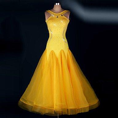 kekafu Wir Ballroom Dance's Kleider Frauen Leistung drapiertes Kleid, Gelb, XXL