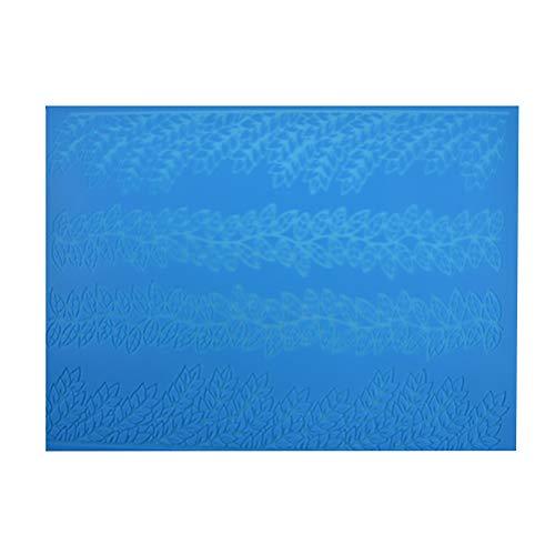 Bestonzon - Set di 2 stampi in silicone a forma di merletto per torte, fondente, fiori, foglie, caramelle, pasta di zucchero, colore blu