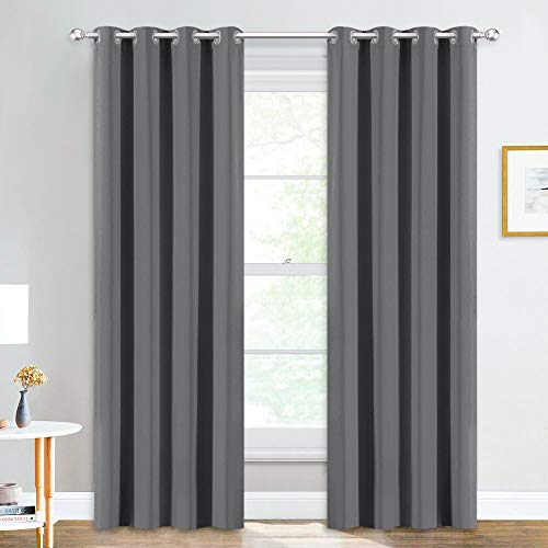 NICETOWN Blackout Curtain Panels for Living Room - (Gray/Grey Color) 52 inches x 84 inches, Pair of...