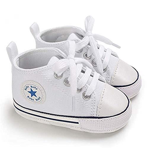 Leinwand Babyschuhe Star Soft Sole Sneaker für Neugeborene Jungen und Mädchen Erste Laufschuhe Unisex Kleinkind Kinderschuhe Newborn Weiß. (12_Months)