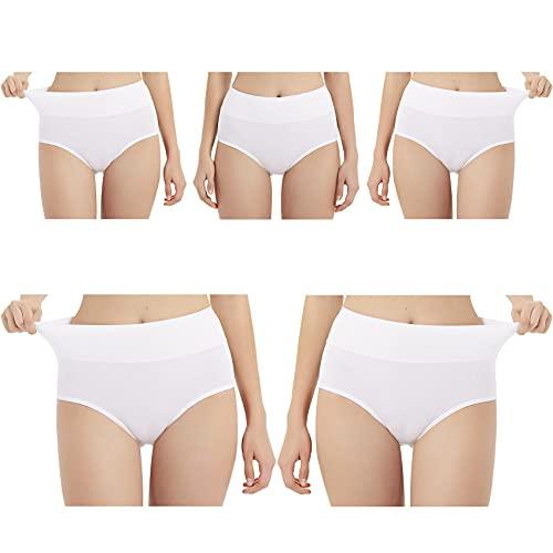 EKSHER Unterhosen Damen Baumwolle Stretch Hohe Taille Slips Weich Unterwäsche 5er Pack-Weiß-L