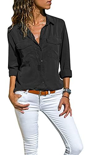 EFOFEI Damen Casual Lange Ärmel Nützliches Taschenhemd Loses Oxford Blusenhemd Schwarz 3XL