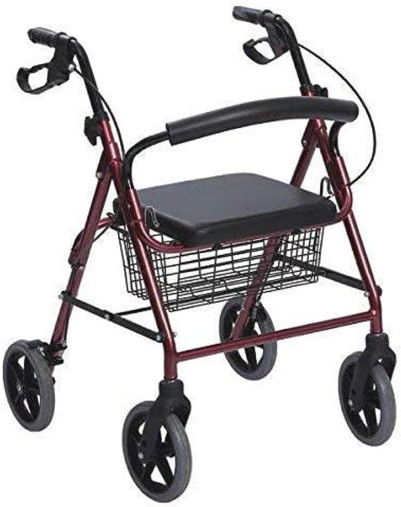 Deambulatore per anziani con 4 ruote sedile e freni rollator in alluminio pieghevole rosso anteamed AD0RA851