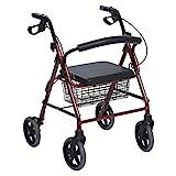 Andador con Ruedas Plegable de Aluminio Rojo - Andador para Ancianos con 4 ruedas, asiento y frenos