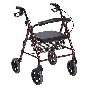 immagine di Rollator in Alluminio Pieghevole Rosso - Deambulatore per Anziani con 4 ruote, sedile e freni