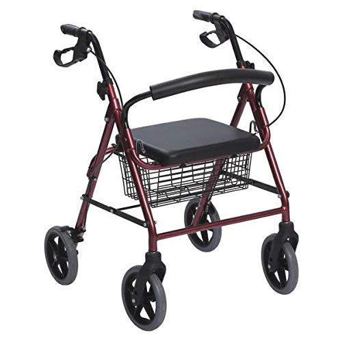 Rollator in Alluminio Pieghevole Rosso - Deambulatore per Anziani con 4 ruote, sedile e freni