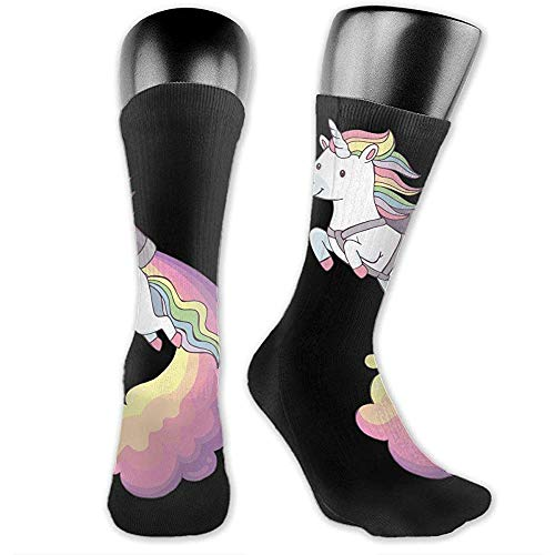 Not Applicable Calcetines Unisex,Un Lindo Unicornio De Dibujos Animados Flying Fashion Funny Sport Calcetines Poliéster Para Adultos Adolescentes Niños Niñas 40cm