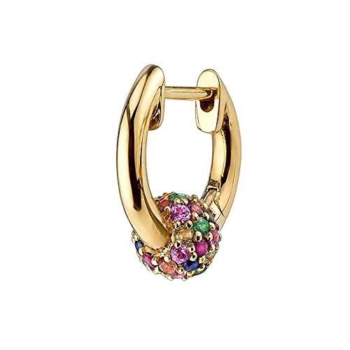 Bola de plata 925 8 mm aros huggie rueda de cristal lazo mujeres delgadas clips piercing pendiente del arco iris joyería-arco iris 1 pieza