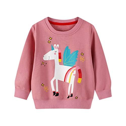 Unisex Kinder Kleinkind Junge Mädchen Sweatshirt Rundhals Pullover Langarm Baumwolle Casual Top Shirt Gr. 2 Jahre, G2#Hautpinkunicorn