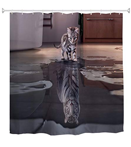 A.Monamour Duschvorhänge Nette Katze Tiger Reflexion Tier Themed Bild Gedruckt Wasserdicht Mehltau Resistent Stoff Bad Vorhang Duschvorhang Mit Haken Ringe 165X180 cm / 65