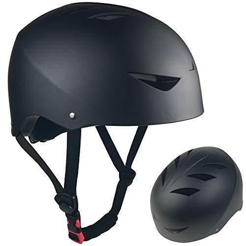 Lightweight Skateboard Kids and Adults for Rollerskate, BMX, Scooter Bike Cycle Helmet Skateboarding Rollerskating Safety Helmet 2021 Model, 58-61cm Matte Black