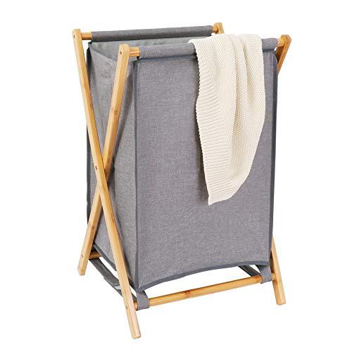 Duży bambusowy kosz na pranie szary trwały kosz na tkaninę ze stałym drewnianym stojakiem kosz na pranie z pokrywką składany kosz na pranie do łazienki pomieszczenia gospodarczego sypialni 40 x 40 cm