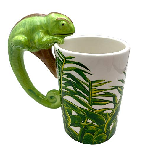 Cute Coffee Mugs Wildlife Series Cup Ceramic Hand painted Animal Mugs for Home and Office Use (Lizard)
