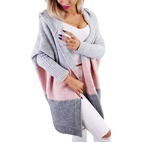 serliy😛Cardigan Damen Lang Strickmantel Mantel Stricken Strickjacke Strick Cardigan Rainbow Kontrastfarbe Langarm Gestreift Outwear Lose Casual Langarm Coat
