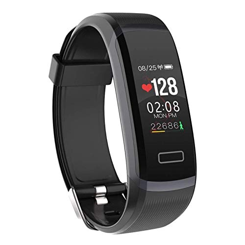FFF8 Inteligente Reloj Hombres Pulsera Monitor En Tiempo Real Ritmo Cardíaco Y Dormir Mejor Pareja Fitness Rosa Ajuste Mujeres (Color : Black)