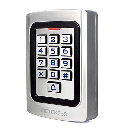 Retekess T-AC04 Control de Acceso Teclado Acceso Puerta Teclado Retroiluminado Numérico IP68 Código PIN 125KHz RFID Tarjeta Wiegand 26 para Tienda Almacén Edificio Empresa (Plata)