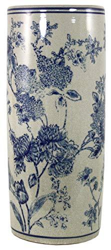 Geko - Paragüero (cerámica), diseño vintage de magnolia, color azul y blanco