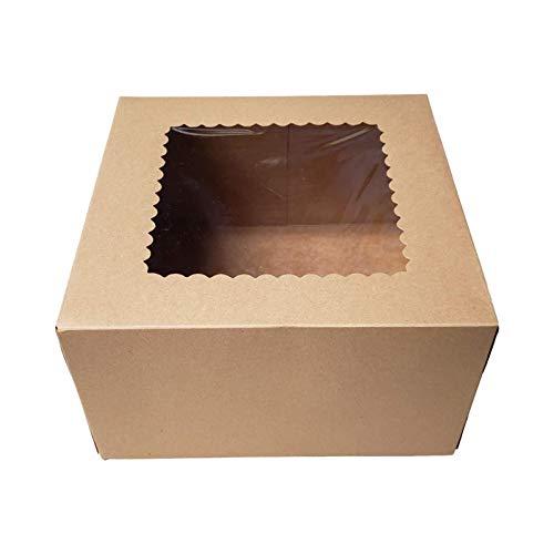 MOVKZACV Cajas de panadería de 20,32 cm y 22,88 cm con ventana de papel de regalo para pasteles, magdalenas, pasteles pequeños y galletas