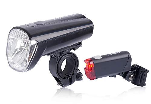Pignolo Fahrradbeleuchtung LED Set Fahrradlicht 40 LUX mit USB Fahrradlampenset StVZO zugelassen Rücklicht und Frontlicht aufladbarer Akku Mountainbike, Farbe:Schwarz-40Lux