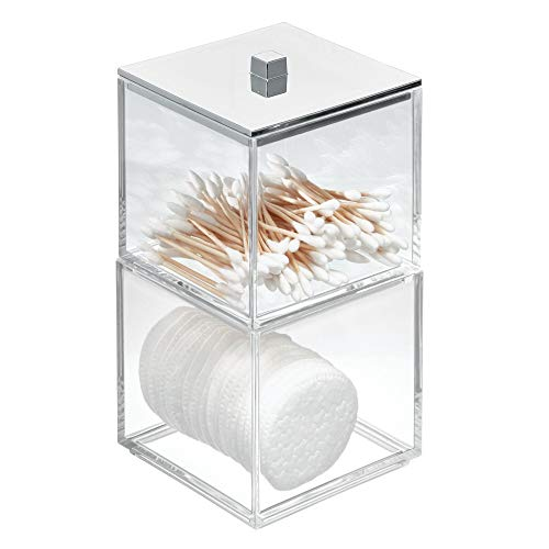 Price comparison product image iDesign Bathroom Accessories Holder with Lid,  Tall Stackable Plastic Makeup Box,  Sink Tidy for Cotton Swabs,  Clear / Silver,  10.2 cm x 10.2 cm x 19.7 cm