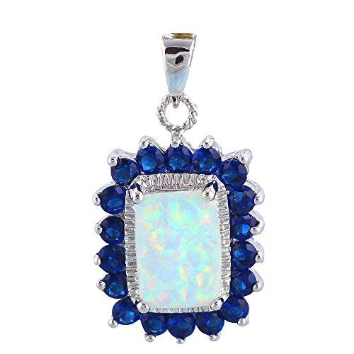 Trendy azul Zircon Blanco Fuego Opal colgante de plata Fashion Jewelry ops673