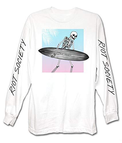 Riot Society Skeleton Surf Mens Long Sleeve T-Shirt