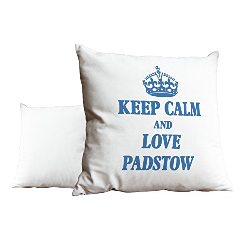 Duke Gifts Sky Blue Keep Calm and Love Padstow White Scatter Pillow 480